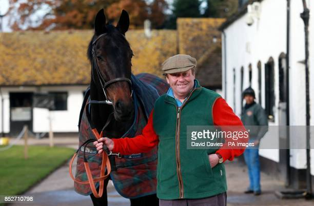 Trainer Nicky Henderson with Sprinter Sacre during a stable visit at Seven Barrows Lambourn