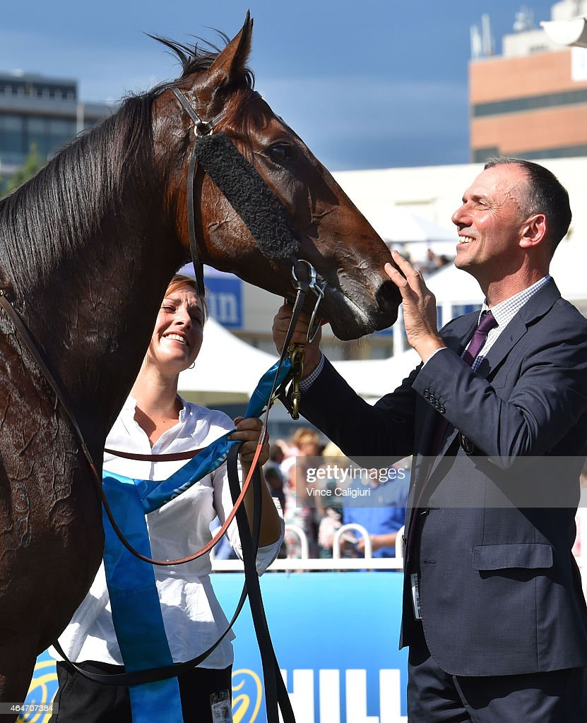 Trainer Nigel Blackiston poses with Suavito after winning Race 5 the Italktravel Futurity Stakes during Blue Diamond Day at Caulfield Racecourse on...