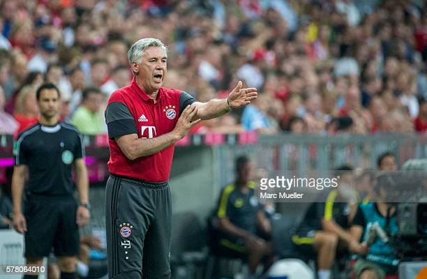 Trainer of Bayern Munich Carlo Ancelotti is seen during a friendly match between Bayern Munich and Manchester City at Allianz Arena on July 20 2016...