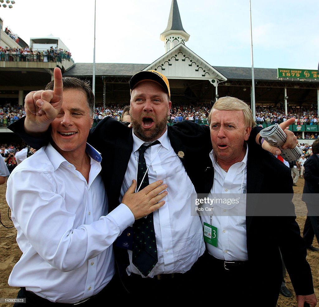 Trainer of winner I'll Have Another, Doug O'Neill (C) celebrates after the 138th running of the Kentucky Derby at Churchill Downs on May 5, 2012 in Louisville, Kentucky.