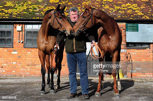 Trainer Paul Nicholls poses with Dodging Bullets and Silviniaco Conti at Manor Farm Stables on February 9 2016 in Ditcheat England