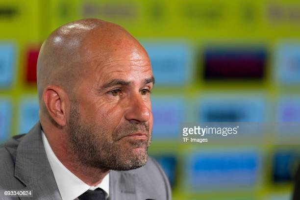 Trainer Peter Bosz during a press conference at Signal Iduna Park on June 6 2017 in Dortmund Germany