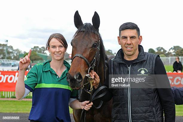Trainer Peter Gelagotis after his horse Moss 'n' Dale won The Grand Hotel Frankston Hcp at Ladbrokes Park Lakeside Racecourse on August 07 2016 in...