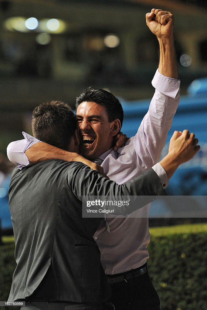Trainer Peter Gelagotis celebrates after winning the Sportingbet Alister Clark Stakes during Melbourne racing at Moonee Valley Racecourse on March 15, 2013 in Melbourne, Australia.