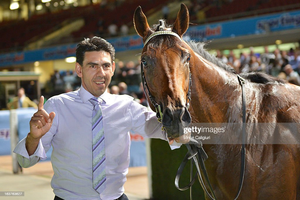 Trainer Peter Gelagotis with Hvasstan after winning the Sportingbet Alister Clark Stakes during Melbourne racing at Moonee Valley Racecourse on March 15, 2013 in Melbourne, Australia.