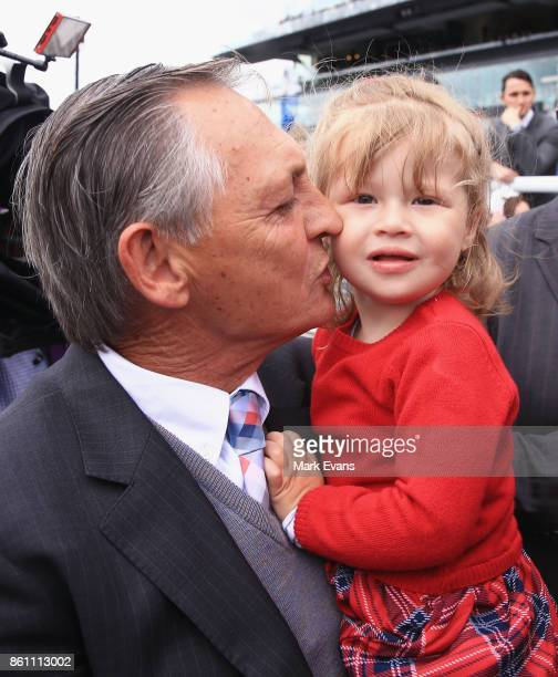 Trainer Peter Snowden with granddaughter Demi after his horse Redzel won the Everest during The Everest Day at Royal Randwick Racecourse on October...