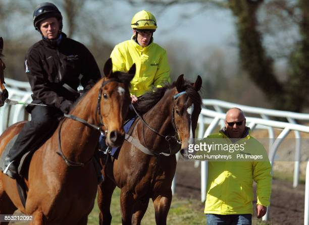 Trainer Richard Fahey leads down his three Lincoln runners Gabrial's Kaka ridden by Barry McHugh and Brae Hill ridden by Ben Hamilton during the...