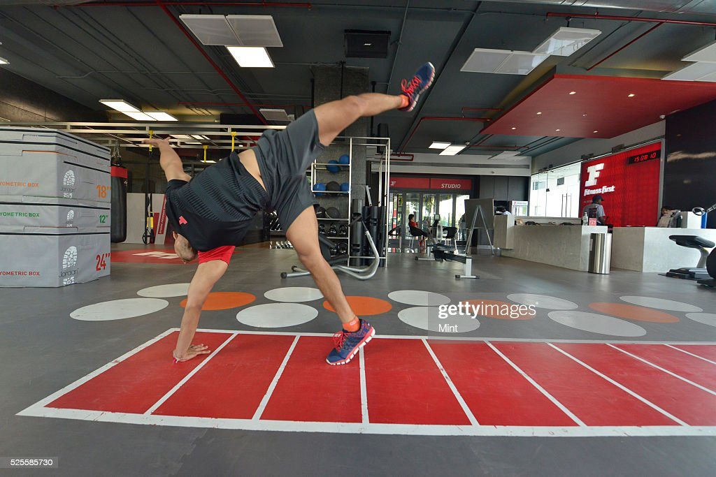 Trainer Ritesh Shaiwal doing parkour workout in a gym on May 13, 2015 in Mumbai, India.