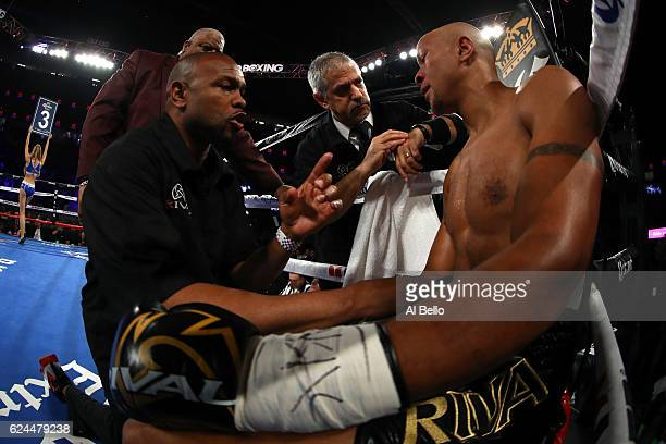Trainer Roy Jones Jr coaches Isaac Chilemba of Malawi in his corner between rounds of his light heavyweight bout against Oleksandr Gvozdyk at TMobile...