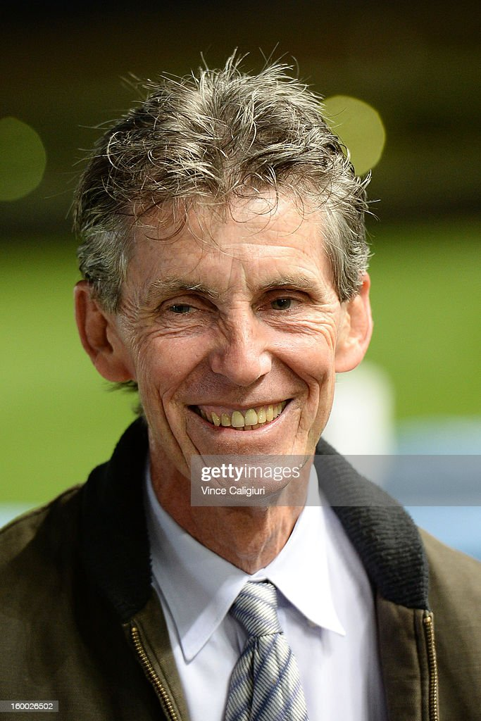 Trainer Stephen Brown smiles after the win of Sea Lord in the Essendon Mazda Australia Stakes during Melbourne racing at Moonee Valley Racecourse on January 25, 2013 in Melbourne, Australia.