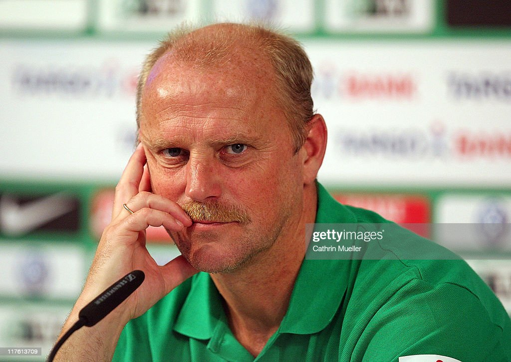 Trainer <a gi-track='captionPersonalityLinkClicked' href=/galleries/search?phrase=Thomas+Schaaf&family=editorial&specificpeople=216597 ng-click='$event.stopPropagation()'>Thomas Schaaf</a> speaks to the media during a press conference of Werder Bremen on June 29, 2011 in Bremen, Germany.