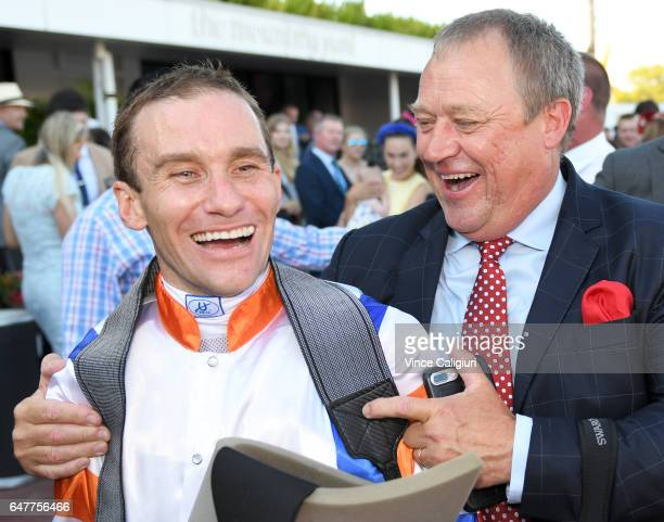 Trainer Tony Mc Evoy and jockey Luke Currie after Hey Doc won Race 7 Australian Guineas during Melbourne Racing at Flemington Racecourse on March 4...