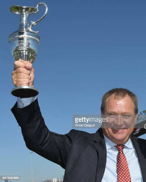 Trainer Tony Mc Evoy poses with trophy after Hey Doc won Race 7 Australian Guineas during Melbourne Racing at Flemington Racecourse on March 4 2017...