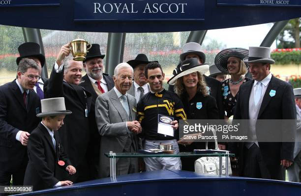 Trainer W A Ward Owners Mitch Dutko and Ray Sainz pose with jockey John Velazquez after winning the Queen Mary Stakes on Jealous Again at Ascot...