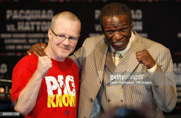 Trainers Freddie Roach and Floyd Mayweather Snr following the head to head press conference at the MGM Grand Hotel and Casino in Las Vegas USA