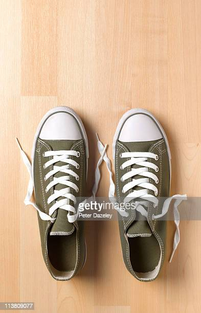 Trainers on wooden floor with copy space
