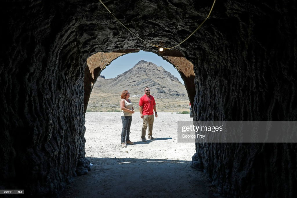 Training coordinator Jennifer Cavalli (L) and Derek Schumann of Jacobs Engineering Group stand outside the newly created BRAUCH training facility at the U.S. Army's Dugway Proving Ground on August 15, 2017 in Dugway, Utah. The BRAUCH facility is made up of old shipping containers that are hooked together to simulate an underground environment such as caves and tunnel complexes, so military units such as special forces can train for those environments.