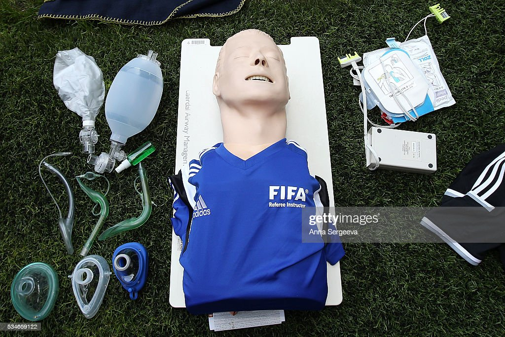 A training medical kit is seen during FIFA and LOC Football Emergency Workshop at Spartak Stadium on May 27, 2016 in Moscow, Russia.