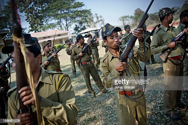 Training of new Park Rangers par of a Forest Battalion of nearly 800 men The new recruits will reinforce Kaziranga National Park's defense against...
