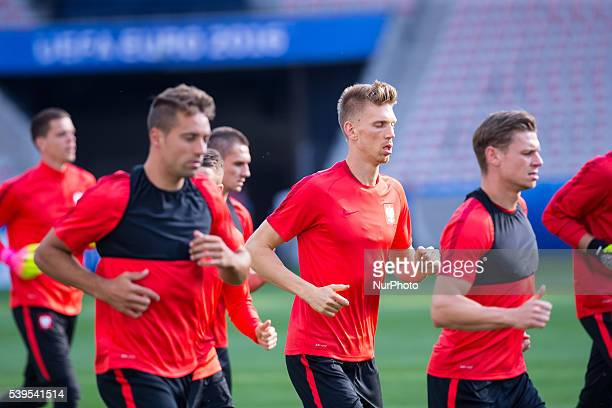 Training of Polish National Team n z Bartosz Salamon during a training session at the Allianz Riviera stadium in Nice southern France on June 11 2016...