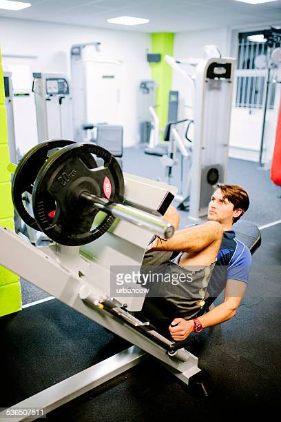 Training using a leg press, weight training in the gym