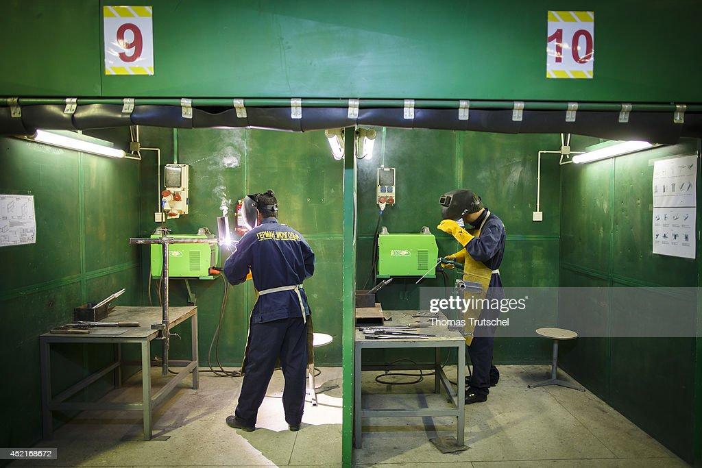 Training workshop for welders at the vocational center Hasu Megawatt on July 07, 2014, in Ulan Bator, Mongolia.
