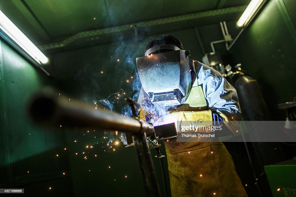 Training workshop for welders at the vocational center Hasu Megawatt on July 07, 2014, in Ulan Bator, Mongolia.