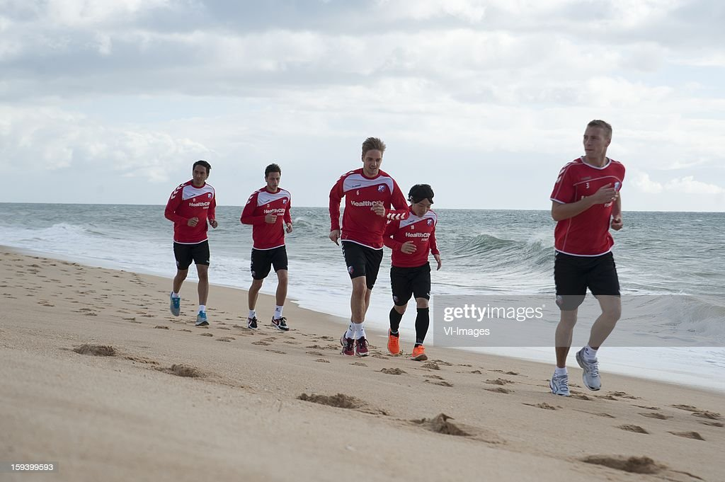 Trainings run at the beach during the training camp of FC Utrecht on January 11, 2013 at Almancil, Portugal.
