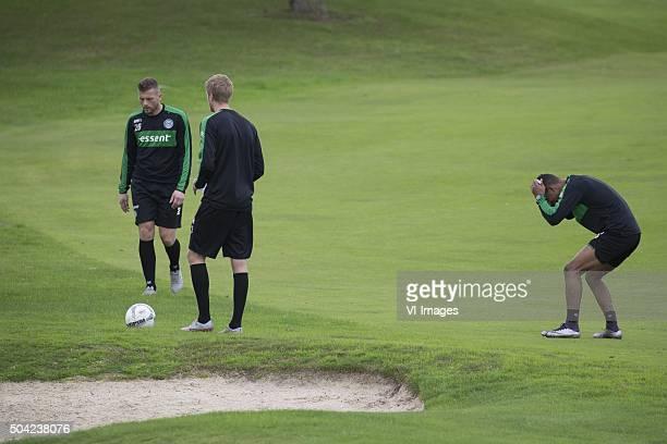 Trainingskamp FC Groningen Spanje Footgolf keeper Peter van der Vlag of FC Groningen Kasper Larsen of FC Groningen Juninho Bacuna of FC Groningen...