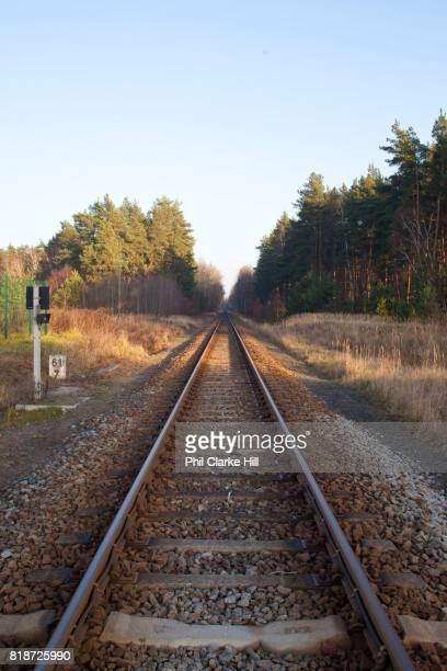 A trainline runs through the Uckermarkische Seen Natural park part of the The Feldberg Lake District Nature Park containing large lakes kettle bogs...