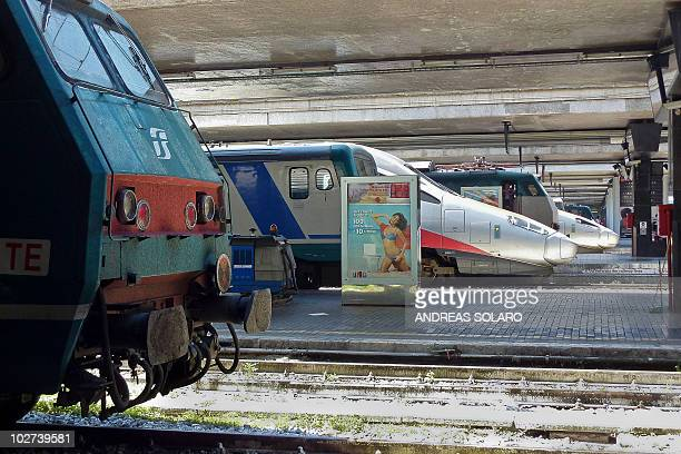 Trains are stationned at Rome Termini station during a national transport strike in Rome on July 9 2010 A national 24hour transport strike called by...