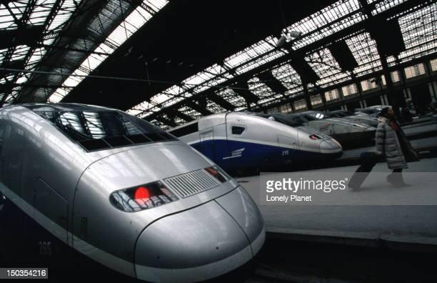TGV trains at Gare de Lyon Railway Station.