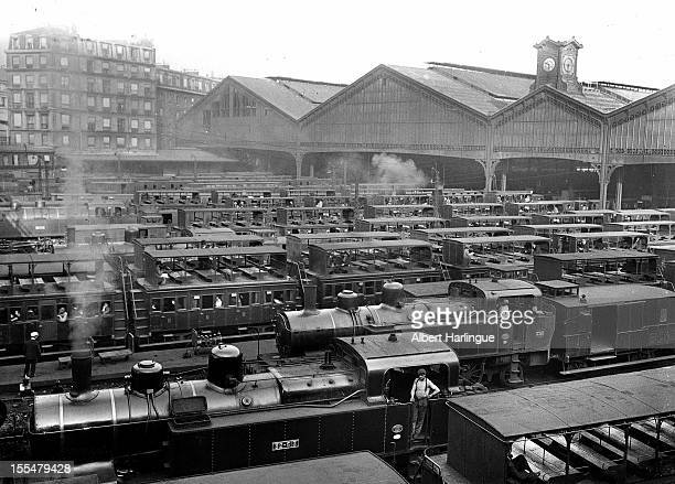 Trains at the gare SaintLazare station Paris circa 1930