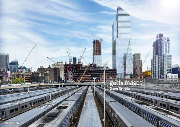 Trains outside Penn Station, Manhattan, NYC
