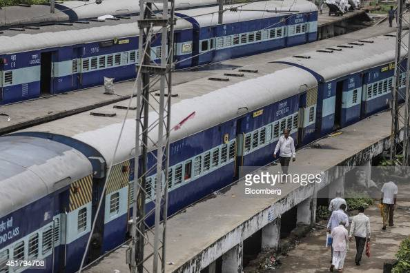 Trains sit at a maintenance depot near Sandhurst Road railway station in Mumbai India on Friday July 4 2014 Indian Railways' annual budget is...