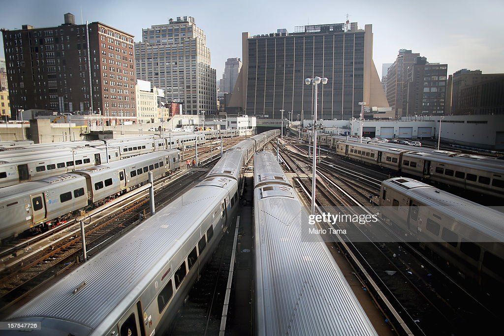 Trains sit on tracks after a groundbreaking ceremony for the Hudson Yards development which is expected to boast 13 million square feet of residential and commercial space on a 26-acre site on Manhattan's west side on December 4, 2012 in New York City. The site was the largest undeveloped piece of property in Manhattan and is expected to create around 23,000 construction jobs. It will be the largest private development in the city since Rockefeller Center.