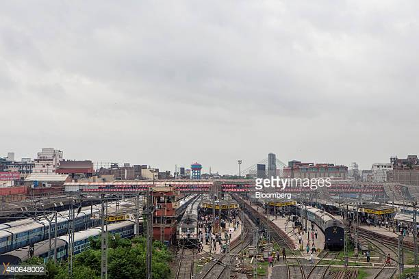Trains stand at the Patna Junction railway station in Patna Bihar India on Friday July 10 2015 Anyone placing bets on whether Indian central bank...