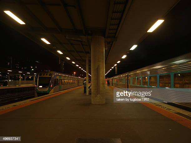 Trains stopped at platforms