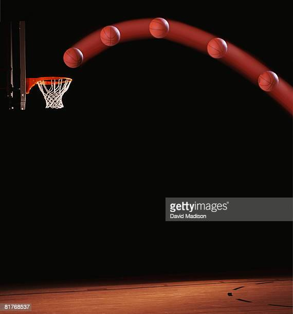 Trajectory of basketball going through basketball hoop.