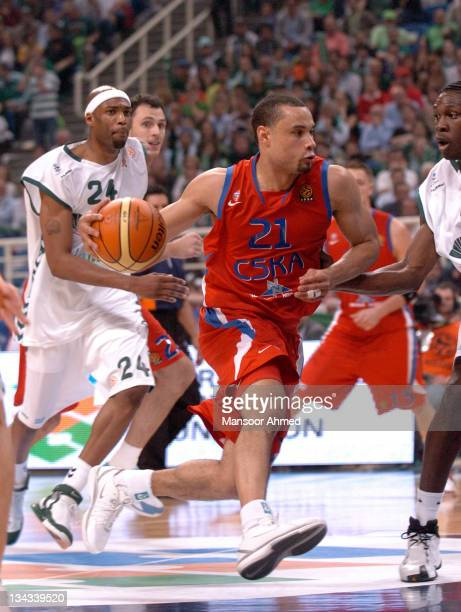 Trajon Langdon drives to the basket for CSKA Moscow during the Euroleague Final Four Semi Final on May 4th 2007 at the OAKA Arena in Athens Greece