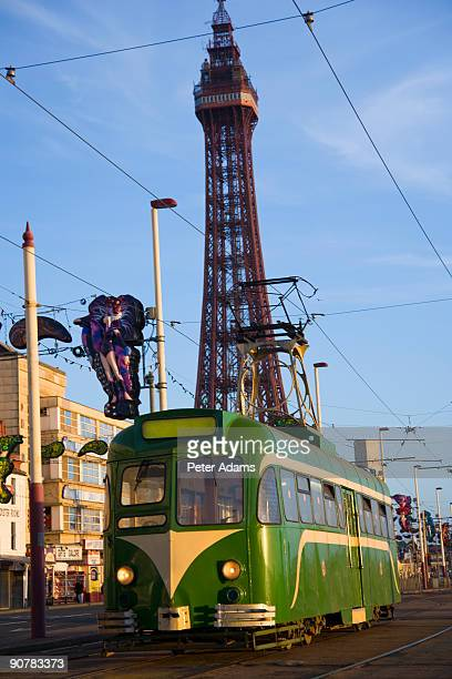 Tram and Blackpool Tower, England