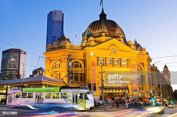 Tram and Flinders Street Station at dusk