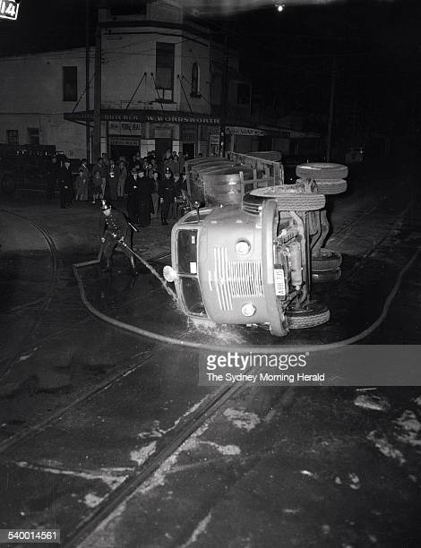 Tram and semitrailer smash in Phillip Street in Waterloo in 9 August 1951 SMH NEWS Picture by JACK MULLIGAN