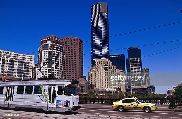 Tram and taxi with Southgate background, Melbourne, Victoria, New South Wales