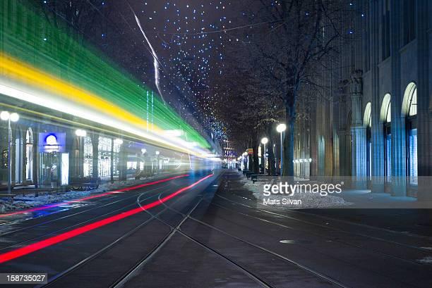 Tram at night in Zurich Bahnhofstrasse