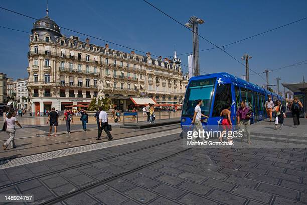 Tram at Place de la Comedie.