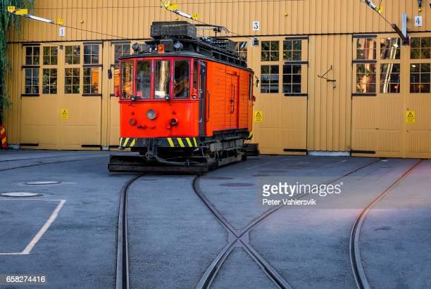 Tram at railroad station, Stockholm, Sweden