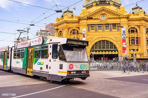 Tram by Flinders Street Railway Station Melbourne Australia