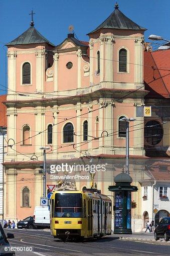Tram in a busy street in Bratislava - Slovakia : Foto de stock