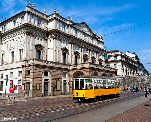 Tram in front of La Scala Milan Italy